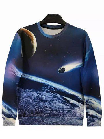 Outfits Round Neck 3D Meteor Long Sleeve Galaxy Sweatshirt
