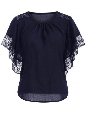 Discount Chic Batwing Sleeve Lace Spliced Blouse