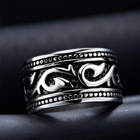 Fashion Fashion Stoving Varnish Etched Ring - 8 SILVER Mobile