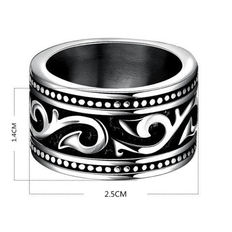 Sale Fashion Stoving Varnish Etched Ring - 8 SILVER Mobile