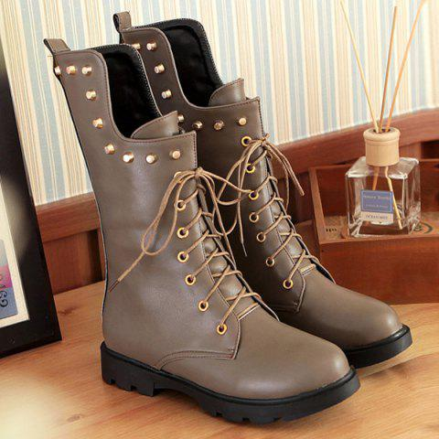 Unique Rivet Lace Up Flat Mid Calf Boots