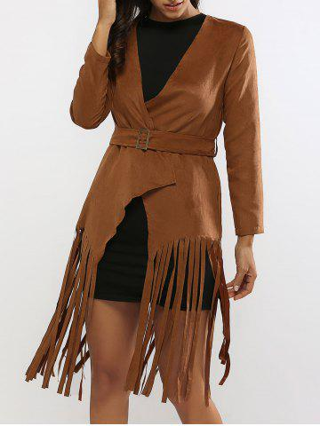 Fashion Fringed Belted Faux Suede Wrap Coat BROWN L