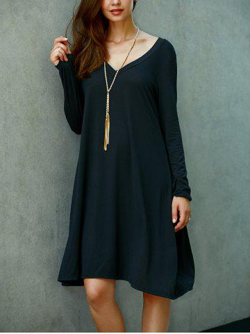 Shop Casual V Neck Long Sleeve Shift Dress