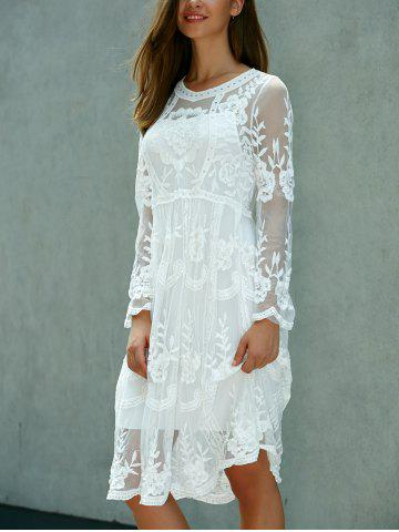 Fancy Lace Embroidered Long Sleeve Sheer Wedding Dress - ONE SIZE(FIT SIZE XS TO M) WHITE Mobile
