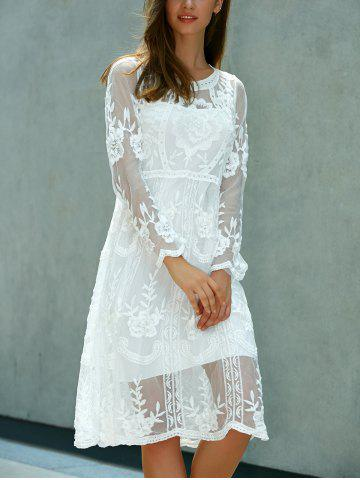 Buy Lace Embroidered Long Sleeve Sheer Wedding Dress - ONE SIZE(FIT SIZE XS TO M) WHITE Mobile