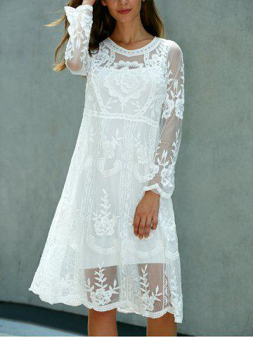 Trendy Lace Embroidered Long Sleeve Sheer Wedding Dress - ONE SIZE(FIT SIZE XS TO M) WHITE Mobile