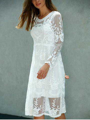 Outfit Lace Embroidered Long Sleeve Sheer Wedding Dress - ONE SIZE(FIT SIZE XS TO M) WHITE Mobile