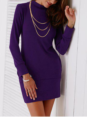 Fancy Turtleneck Long Sleeve Mini Sheath Dress