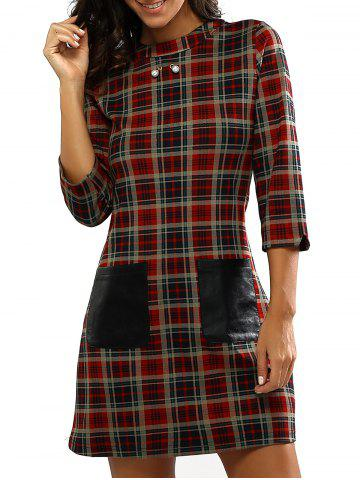 Fashion Retro Gingham Print Faux Lether Pocket Dress