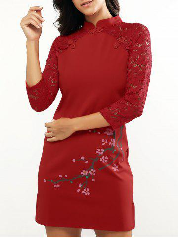 Unique Retro Mandarin Collar Slit Lace Spliced Cheongsam Dress RED XL
