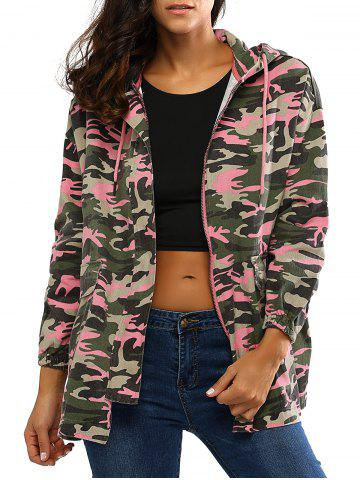 Store Colorful Camo Print Hooded Loose Coat