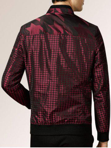Latest Houndstooth Pattern Zip Up Long Sleeve Padded Jacket ODM Designer - 2XL WINE RED Mobile
