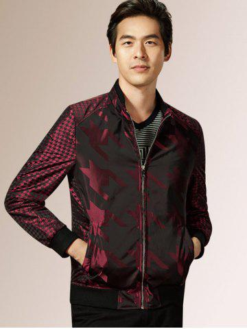 Unique Houndstooth Pattern Zip Up Long Sleeve Padded Jacket ODM Designer - 2XL WINE RED Mobile