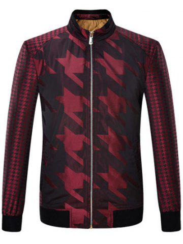 Store Houndstooth Pattern Zip Up Long Sleeve Padded Jacket ODM Designer - 2XL WINE RED Mobile