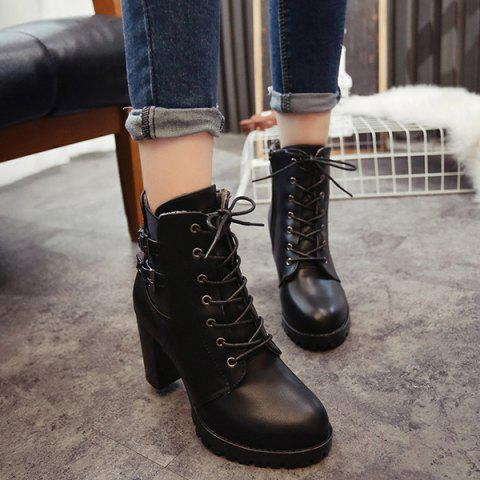 Cheap Chunky Heel Buckles Front Lace-Up Short Boots