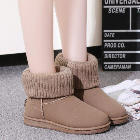 Store Suede Knitted Slip On Snow Boots