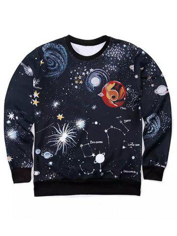 Fancy Round Neck 3D Outer Space Print Long Sleeve Sweatshirt BLACK XL