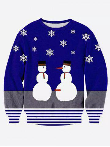 Outfit Round Neck 3D Snowman and Stripe Print Long Sleeve Sweatshirt