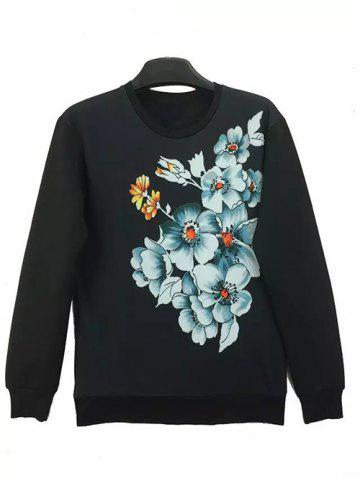 Chic Round Neck 3D Flowers Print Long Sleeve Sweatshirt