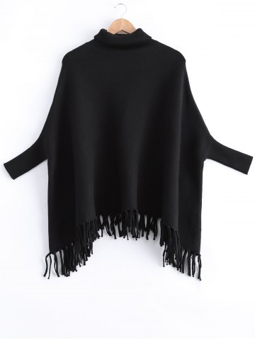 Fringed Batwing Sleeves Loose Sweater - Black - One Size