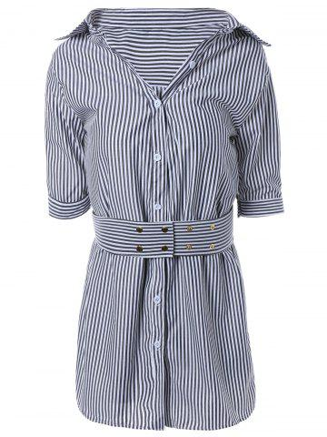 Store Striped Faux Two-Piece Belted Shirt Dress