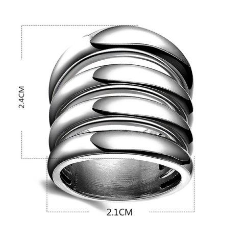 Store Fashion Cut Out Shiny Side Four Rows Ring - 7 SILVER Mobile