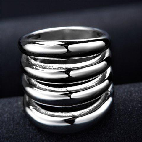 Discount Fashion Cut Out Shiny Side Four Rows Ring - 7 SILVER Mobile