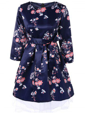 Best Retro Round Neck Floral Printed 3/4 Sleeve Bowknot Fit and Flare Dress