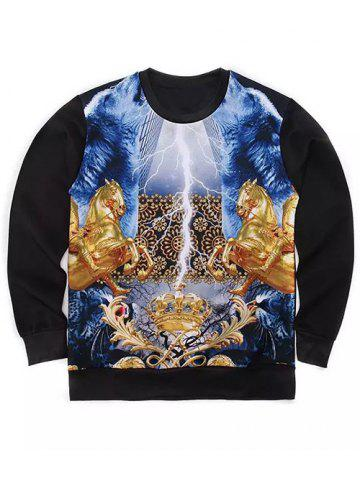 Shops Round Neck 3D Symmetrical Golden Horses and Crown Print Long Sleeve Sweatshirt