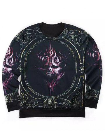 Shop Round Neck 3D Abstract Skull Print Long Sleeve Sweatshirt