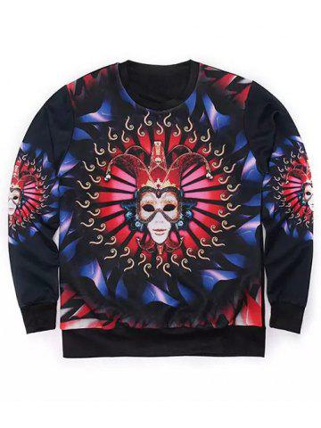 Discount Round Neck 3D Mask Clown Print Long Sleeve Sweatshirt