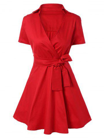Cheap Vintage Bowknot Embellished Swing Dress RED 2XL