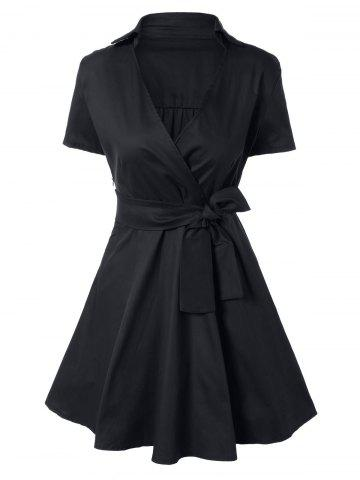 Fashion Vintage Bowknot Embellished Swing Dress BLACK XL