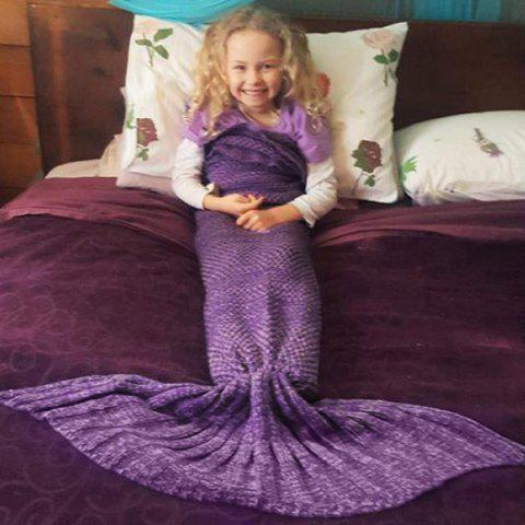Unique Fish Scale Tail Shape Flouncing Sleeping Bag Mermaid Knitting Blanket For Kids