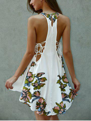 Hot Lace-Up Asymmetrical Cut Out Floral Dress WHITE L
