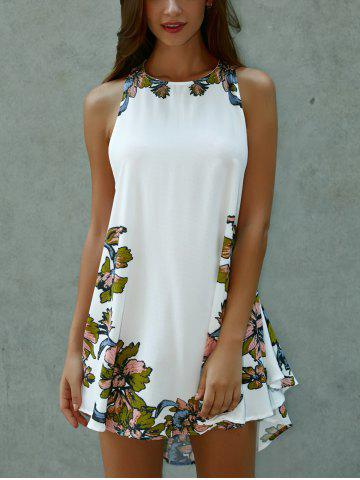 Outfits Floral Print Lace-Up Asymmetrical Club Dress - M WHITE Mobile