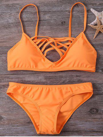 New Hollow Out Cami Strappy Bikini Set - S SWEET ORANGE Mobile