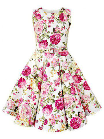 Outfit Vintage Sleeveless Floral Print Pin Up Dress WHITE 2XL