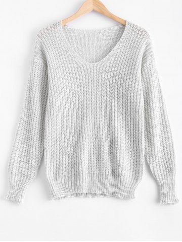 Fancy V Neck Chunky Pullover Sweater
