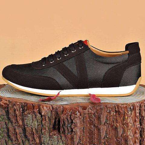 Fancy Mesh Breathable Suede Spliced Casual Shoes ODM Designer - 41 BROWN Mobile