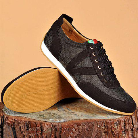 Fancy Mesh Breathable Suede Spliced Casual Shoes ODM Designer BROWN 42
