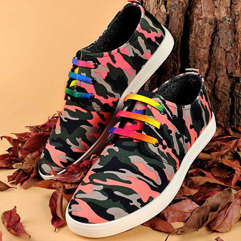 Best Rivet Lace-Up Camouflage Print Casual Shoes ODM Designer - 41 RED Mobile