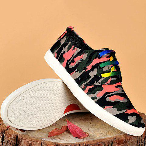 Shops Rivet Lace-Up Camouflage Print Casual Shoes ODM Designer - 41 RED Mobile