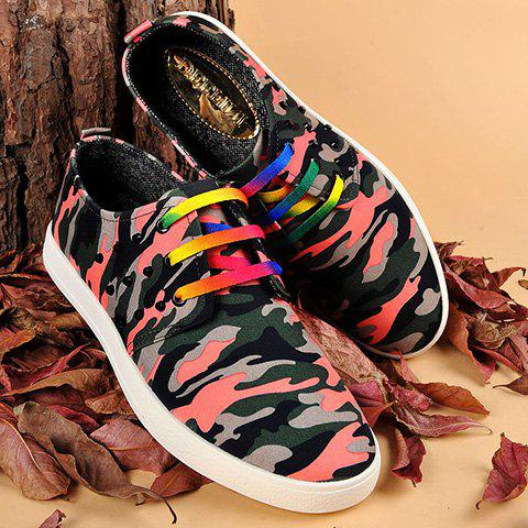 Hot Rivet Lace-Up Camouflage Print Casual Shoes ODM Designer RED 41