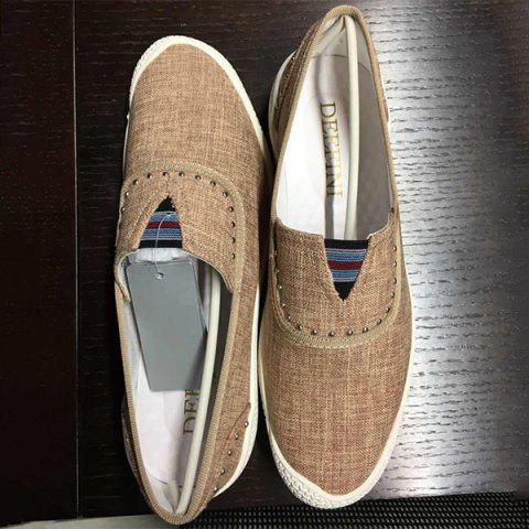 Discount Slip-On Rivet Linen Casual Shoes ODM Designer - 41 BROWN Mobile