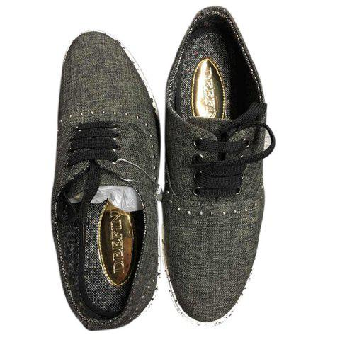 Chic Linen Rivet Lace-Up Casual Shoes ODM Designer BLACK GREY 39