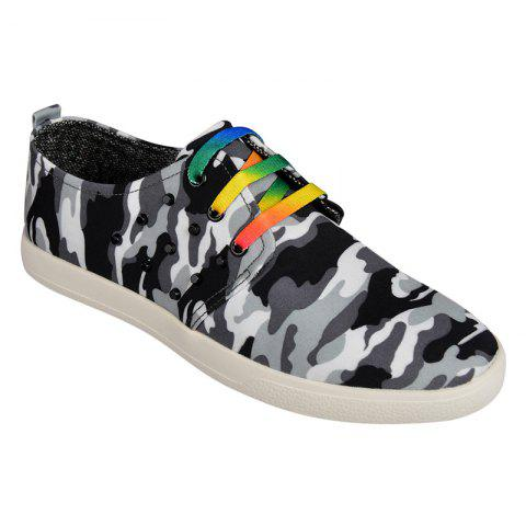 Fancy Rivet Lace-Up Camouflage Print Casual Shoes ODM Designer BLACK 42