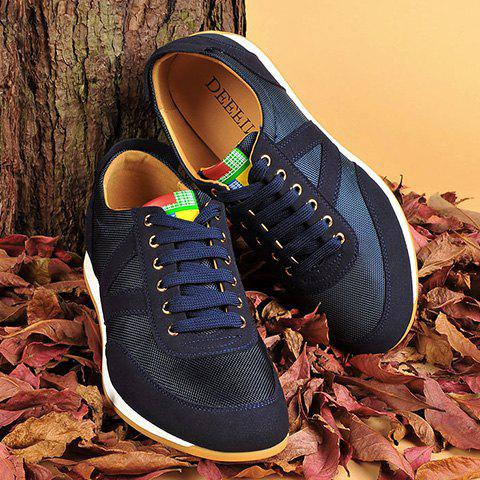 Trendy Mesh Breathable Suede Spliced Casual Shoes ODM Designer BLUE 41