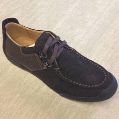 Lace-Up Stitching PU Spliced Casual Shoes ODM Designer - Brown - 40