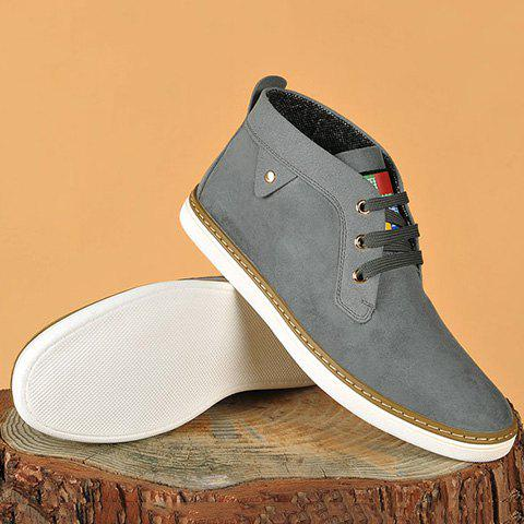 Discount Mid Top Suede Lace-Up Casual Shoes ODM Designer GRAY 40